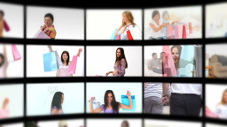 Montage of happy women Stock Video Footage