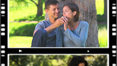 Montage of cute couples relaxing Stock Video Footage
