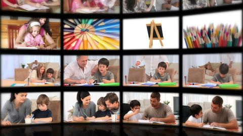 Montage illustrating the educational system Animation