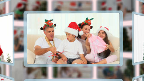Montage of families on Christmas day Animation