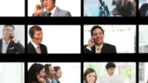 Montage of business people having phone discussion Stock Video Footage