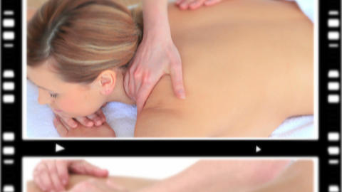 Montage of women relaxing while having a massage Stock Video Footage