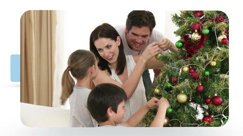 Montage of people celebrating Christmas Animation