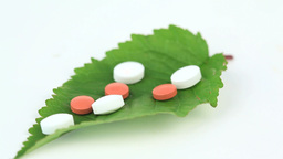 Green leaf with pills turning on itself Stock Video Footage