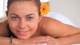 Portrait of a young beautiful woman relaxing Stock Video Footage