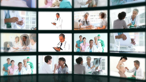 Montage of different medical situations Stock Video Footage