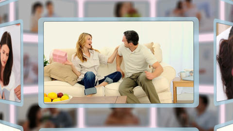 Montage of lovely couples sharing and enjoying dif Animation