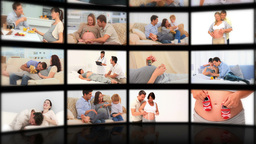 Montage of couples enjoying pregnancy moments toge Stock Video Footage