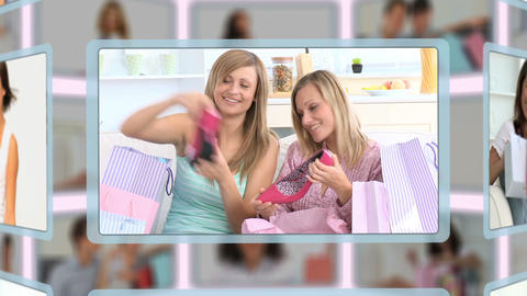 Montage of couples and families enjoying some shop Animation