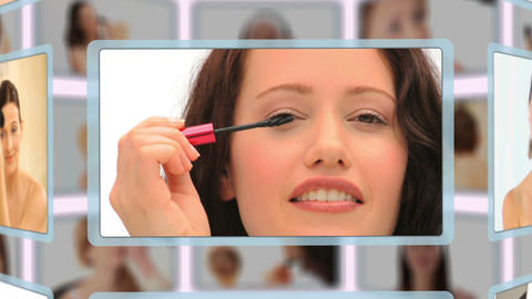 Montage of good looking women puting makeup on Animation