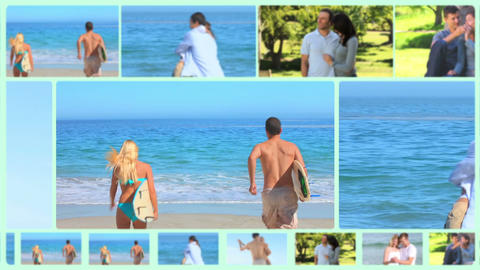 Montage of happy couple outside Stock Video Footage