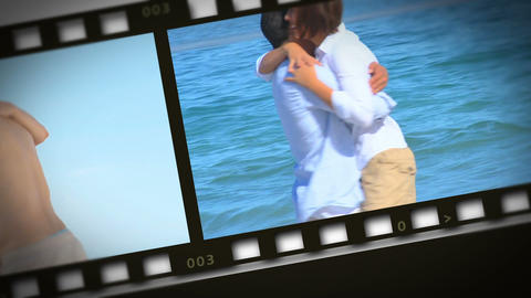 Montage of romantic couple on the seaside Animation