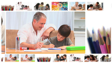 Montage of children writing or drawing Animation