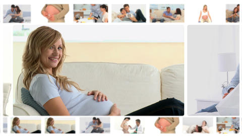 Montage of women at different pregnancy moments Animation