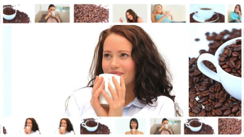 Montage of beautiful women enjoying cups of coffee Animation