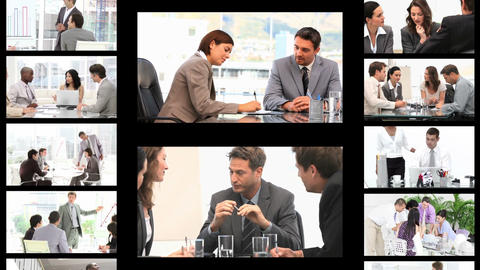 Montage of business people in different situations Stock Video Footage