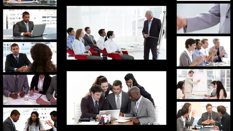 Montage of business people in different situations Animation