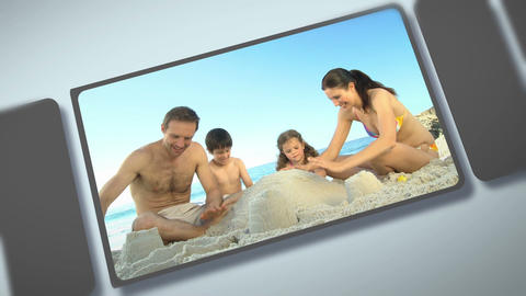 Montage of families enjoying different moments together Animation