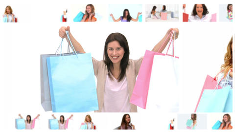 Montage of beautiful women after shopping Animation