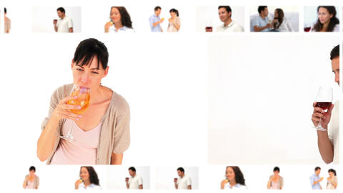 Montage of people drinking wine Stock Video Footage