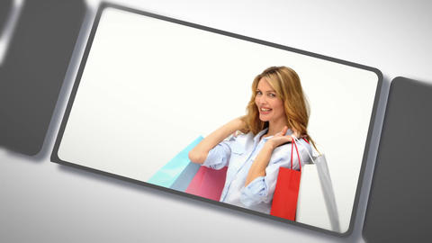 Montage of beautiful women after shopping Stock Video Footage