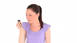 Young woman getting angry while phoning Footage
