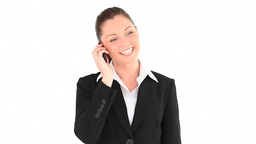 Happy businesswoman telephoning Stock Video Footage
