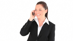 Happy businesswoman telephoning Footage