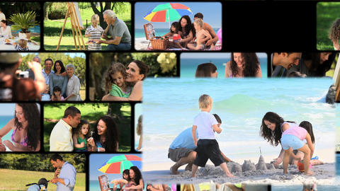 Montage of families outdoors Footage