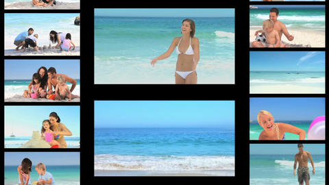 Montage of people on the seaside Stock Video Footage