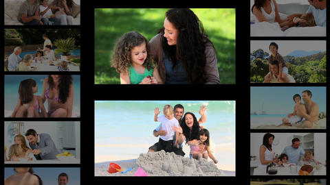 Montage of families spending time outside Stock Video Footage