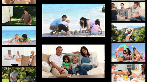 Montage of families spending time outside Animation