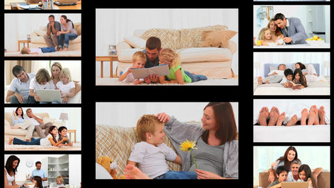 Montage of families at home Animation