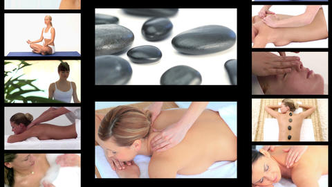 Montage of women chilling out at the spa Stock Video Footage