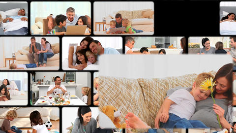 Montage of families enjoying moments at home Animation