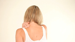 Woman having back pain Stock Video Footage