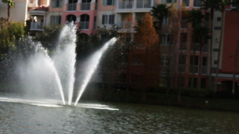 0070 Resort Blue Sky Water Fountain Footage