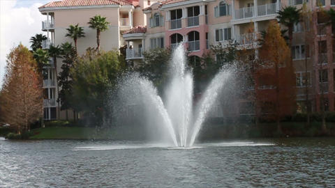0071 Resort Blue Sky Water Fountain Footage
