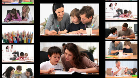 Montage of families doing homework Animation