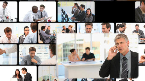 Montage of business people communicating Animation
