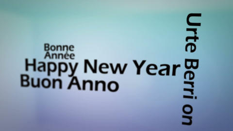 Happy new year in several languages animation Stock Video Footage