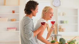 Joyful couple with wine Footage