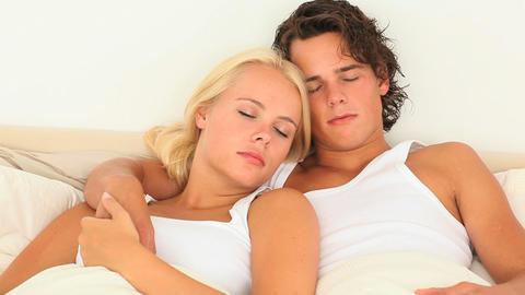 Sweet sleeping couple Footage