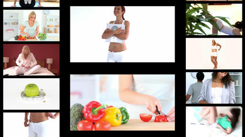 Montage of fit women dieting Animation