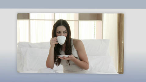 Montage of people drinking coffee Stock Video Footage