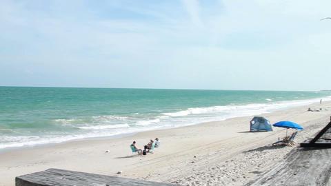 0089 Beach Blue Sky , People Watch the Ocean Footage