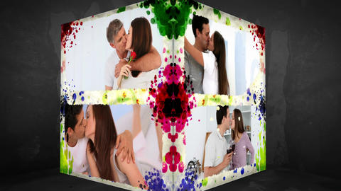 3D AnimationCube of happy Couples Stock Video Footage