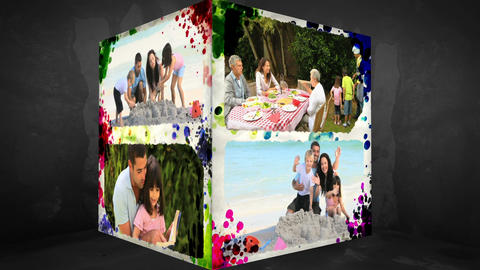 3D AnimationCube of Family Vacations Stock Video Footage