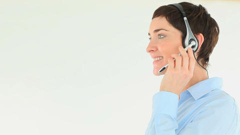 Businesswoman with a headset Stock Video Footage