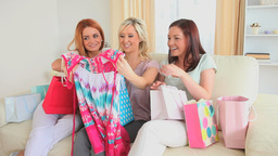 Cute women happy with their shopping Footage